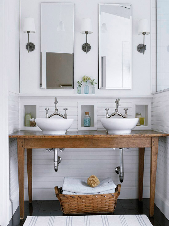 console table repurposed into double bathroom vanity